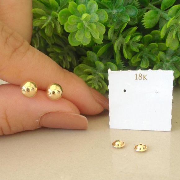 Brinco em ouro 18k  bola 6mm, brinco bola em ouro