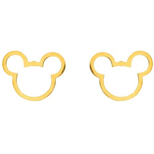 Brinco Mickey Grande, Banhado a Ouro 18k