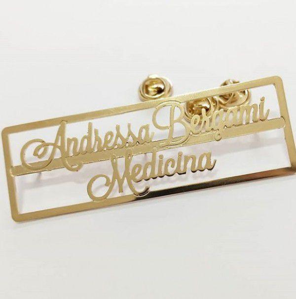Broche Personalizado para Jaleco Profissão Banhado a Ouro