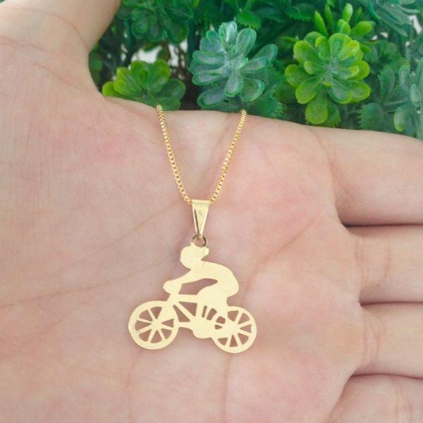 Colar Ciclista, Corrente Bicicleta Banhado A Ouro 18k