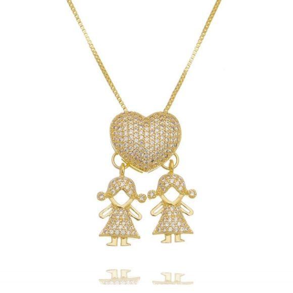 Colar Coração Cravejado Duas Filhas Meninas Banhado a Ouro