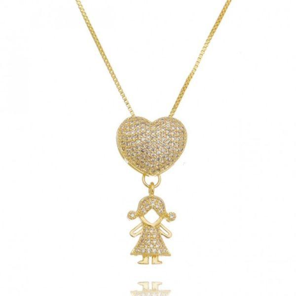 Colar Coração Cravejado Filha menina Banhado a Ouro