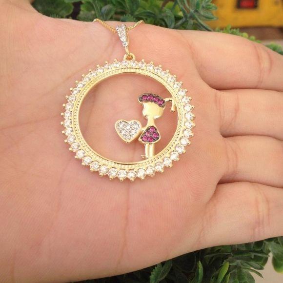 Colar Mandala Filha(o) Zircônias Banhado a Ouro