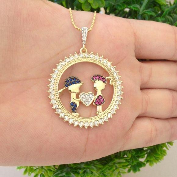 Colar Mandala Filhas(os) Zircônias Banhado a Ouro