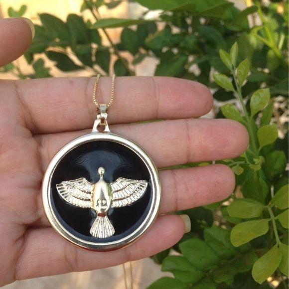Colar Medalha Espirito Santo com Aplique de Resina Banho de Ouro