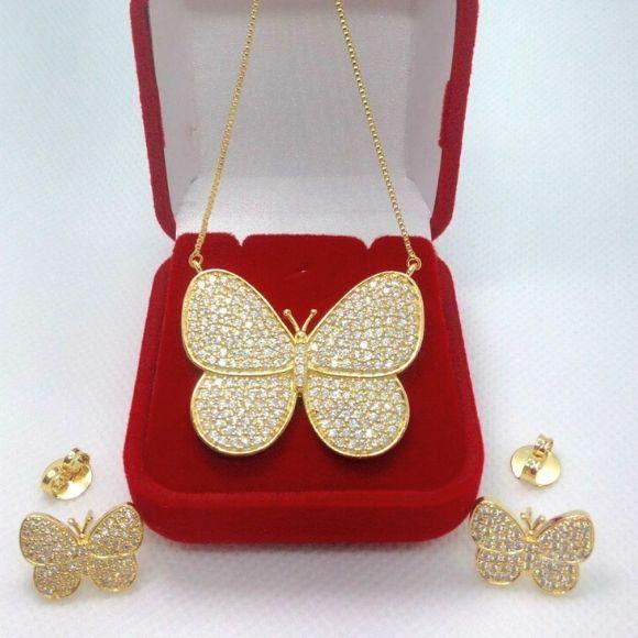 Conjunto Borboleta Cravejada Banhada a Ouro