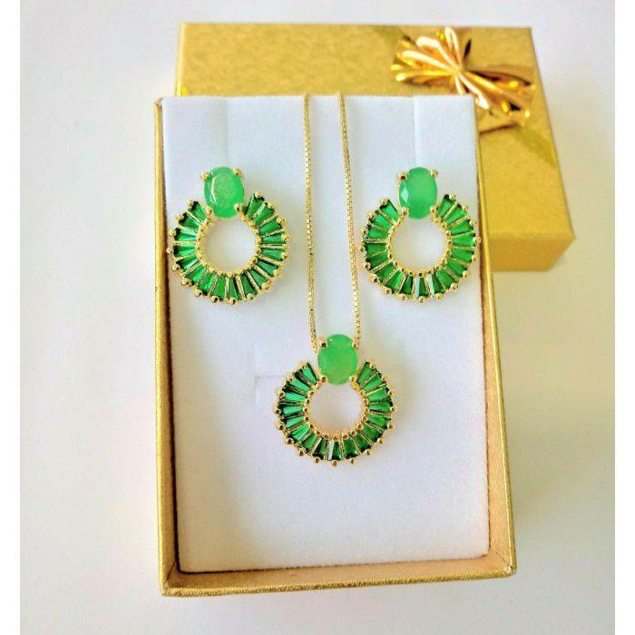 Conjunto Brinco Corrente Verde/Cristal/Vermelho Banhado A Ouro