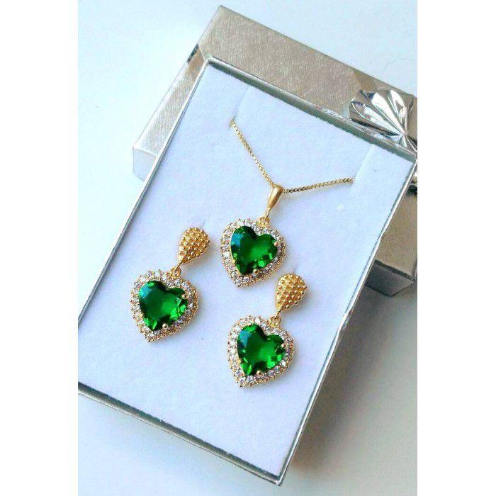Conjunto Cravejado Coração Verde Esmeralda Banhado a Ouro 18k