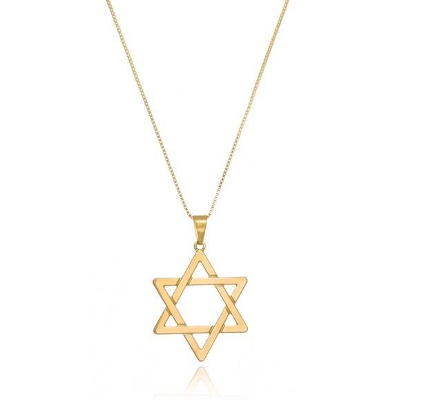 Corrente Estrela de Davi Banhado a Ouro 18k