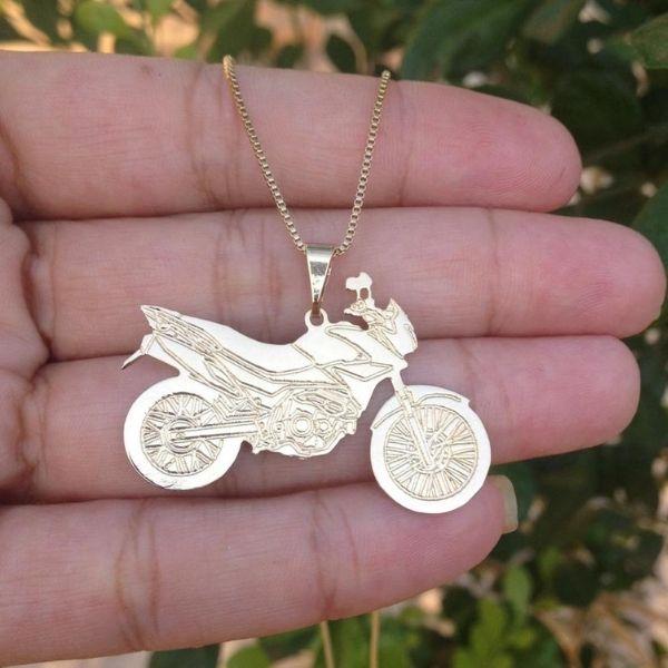 Corrente Pingente De Moto Falcon Banhado a Ouro