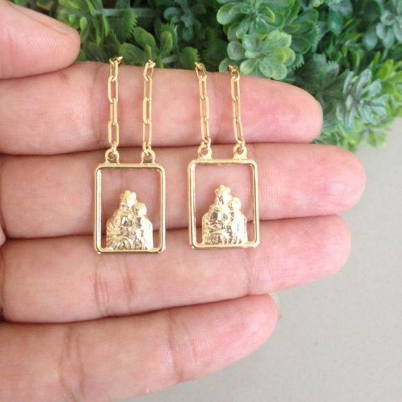 Escapulário Masculino Nossa Senhora do Carmo Banho De Ouro