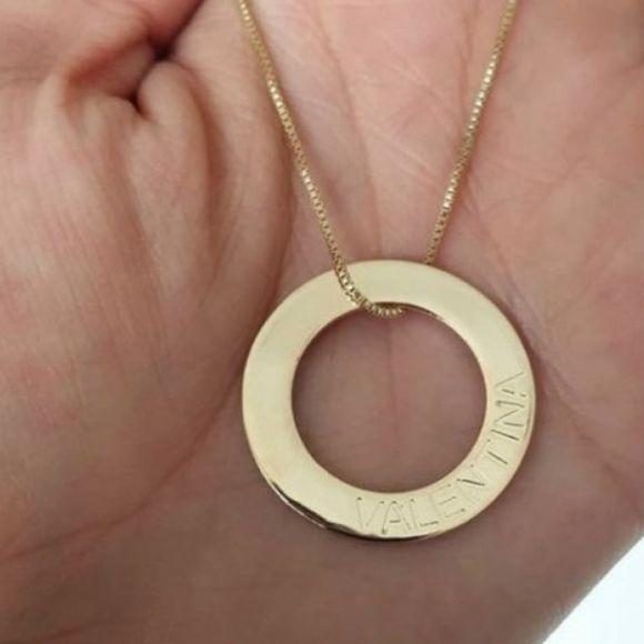 Gargantilha Argola Personalizada Nome Gravado Banhado a Ouro