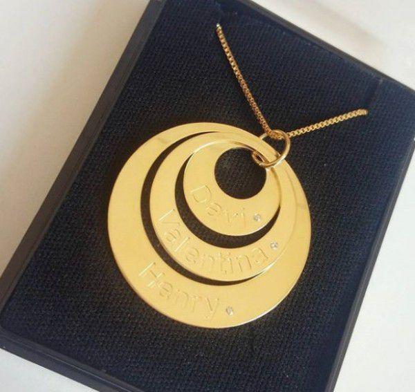 Gargantilha Argolas Personalizadas Banhado a Ouro