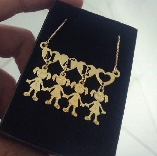 Gargantilha Canguinha Coração Letras Personalizadas com Pingentes Banhado a Ouro