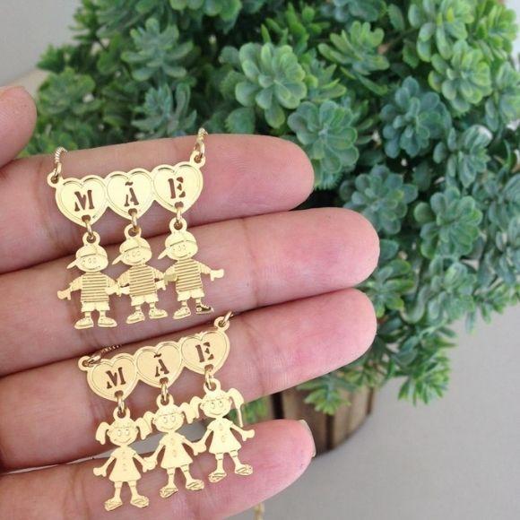 Gargantilha Canguinha Mãe e Meninas(meninos) Banho de Ouro