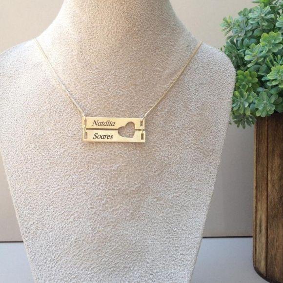 Gargantilha Coração Vazado Personalizado 2 Nomes Banho de Ouro