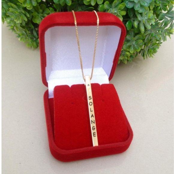 Gargantilha cubo palito personalizado banhado a ouro