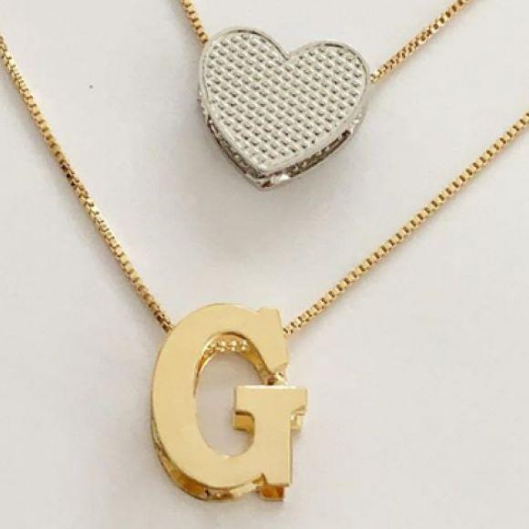 Gargantilha Dupla Letra Inicial Coração Banhado a Ouro