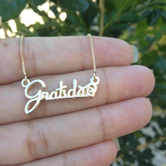 Gargantilha Gratidão Banhado a Ouro