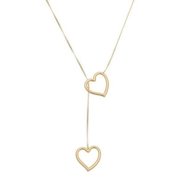 Gargantilha Gravatinha Banho de Ouro Com Pingente De Coração