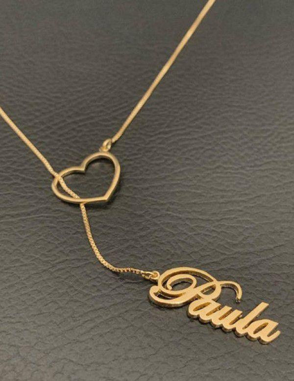 Gargantilha Gravatinha Nome Personalizado Coração Banhada a  Ouro