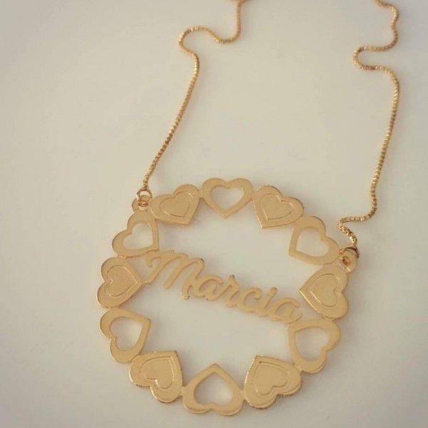 Gargantilha Mandala Personalizada com Corações Banhado a Ouro
