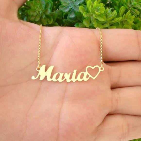 Gargantilha Manuscrito nome e coração  Banhado a Ouro