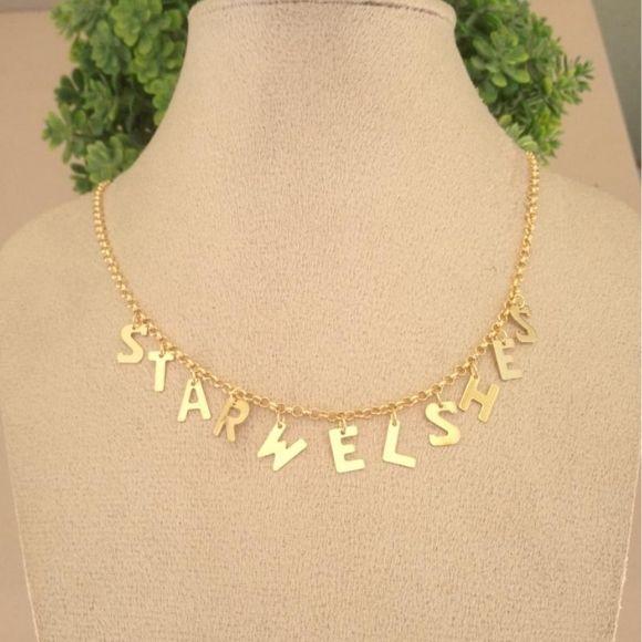 Gargantilha nome letras banhado a ouro até 10 letras