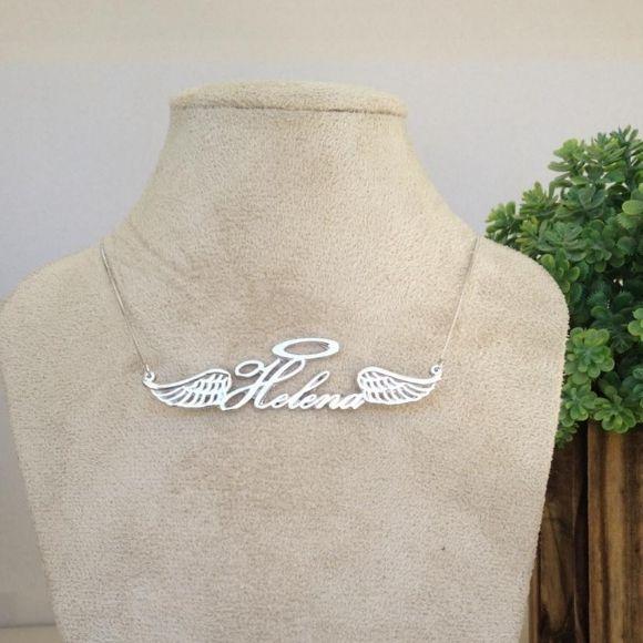 Gargantilha Nome Personalizado Asa de Anjo e Aureola Banhado a Ouro