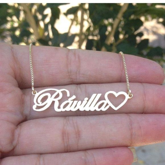 Gargantilha Personalizada com Coração Banhada a Ouro 18k