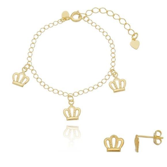 Kit infantil Brinco + pulseira de Coroa Banhado a Ouro