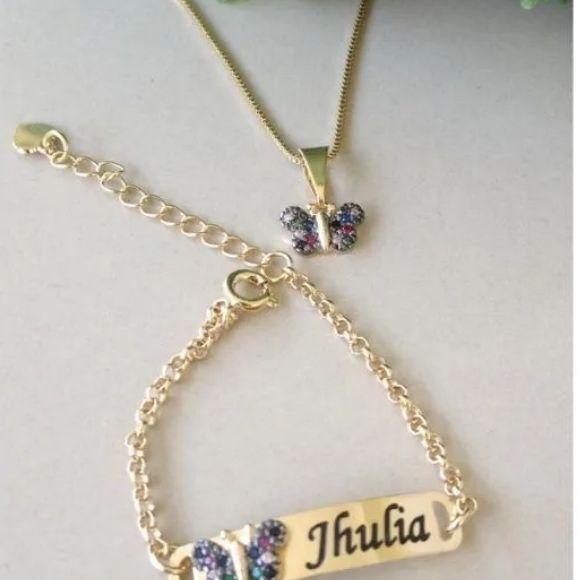 Kit Pulseira e Colar Infantil Borboleta Personalizada Banhada a Ouro18k