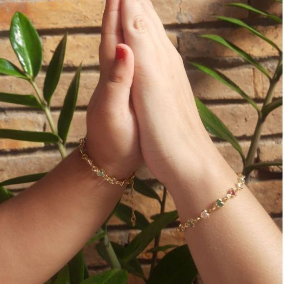 Kit pulseira Tal mãe e tal filha corações banhado a ouro