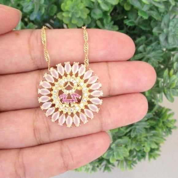 Mandala Menina Filha Rosa, com Pedras Banhada a Ouro