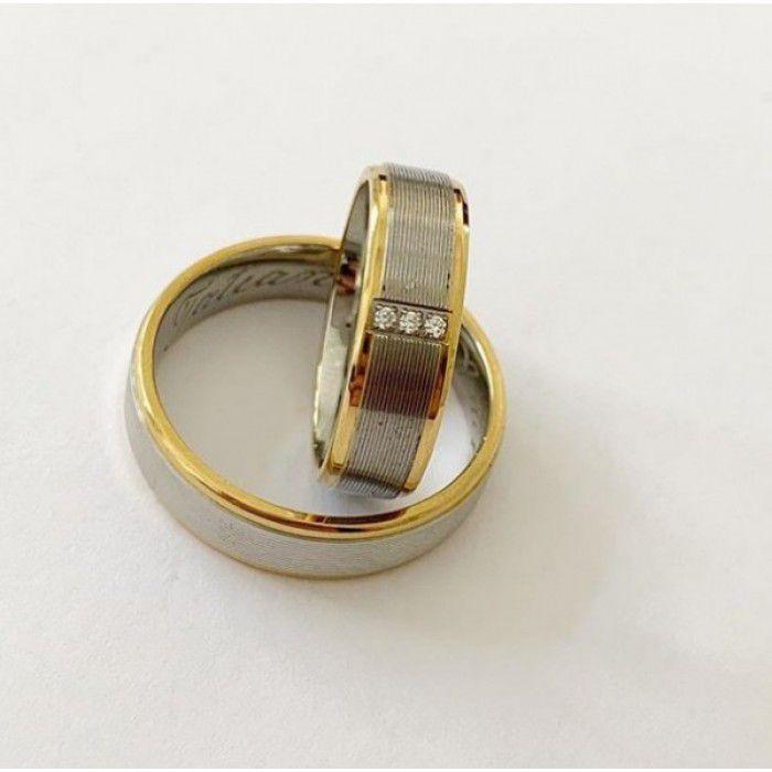 Par de Aliança 6mm Aço Inox Diamantada Bordas Fios em Banho de Ouro