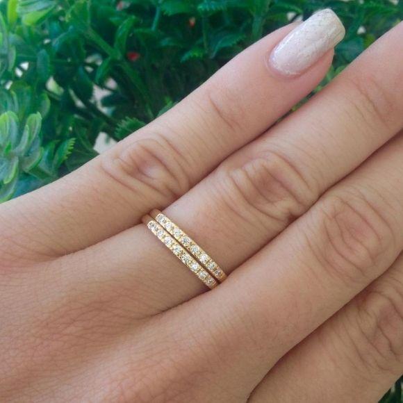 Par de Aparadores Meia Aliança 7 Pedras Banhada a Ouro