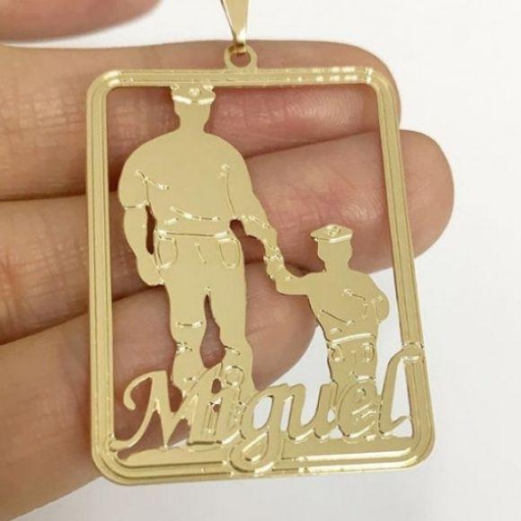 Pingente Personalizado Pai e Filho Bombeiro Banhado a Ouro