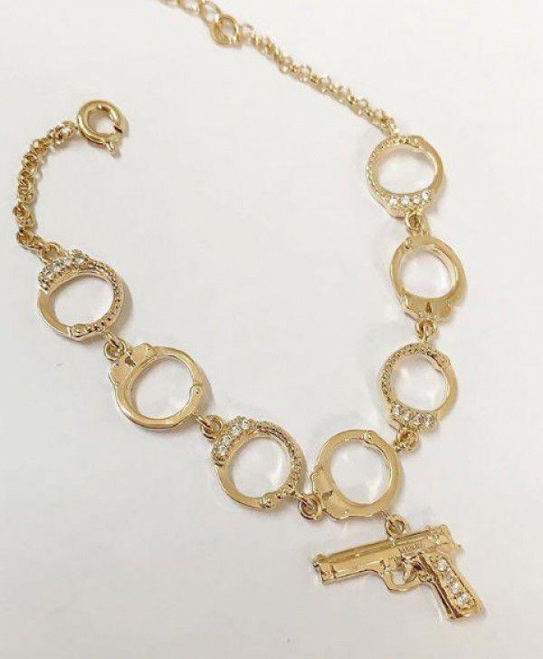Pulseira Algema com Pistola Cravejada em Banho de Ouro