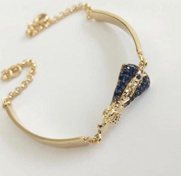 Pulseira/Bracelete Nossa Senhora Aparecida Cravejada Banho de Ouro