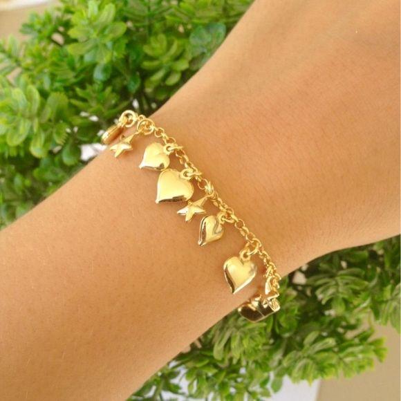 Pulseira Coração + Estrela Banhada A Ouro