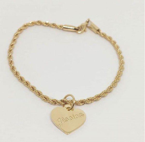 Pulseira Cordão Baiano Pingente Coração Personalizado Banhado a Ouro 18k