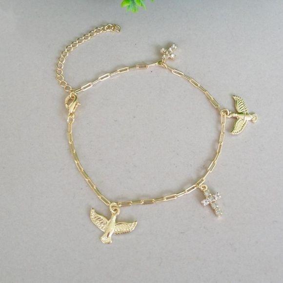 Pulseira cruz+ espirito santo banhada a ouro