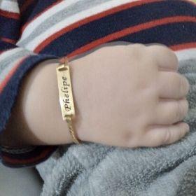Pulseira Infantil Chapa Menor para Bebe Banhada a Ouro