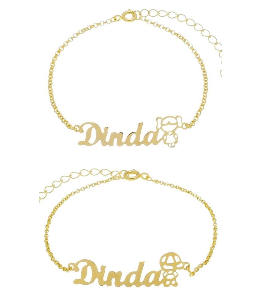 Pulseira Madrinha Dinda Menino/menina Banhada A Ouro 18k