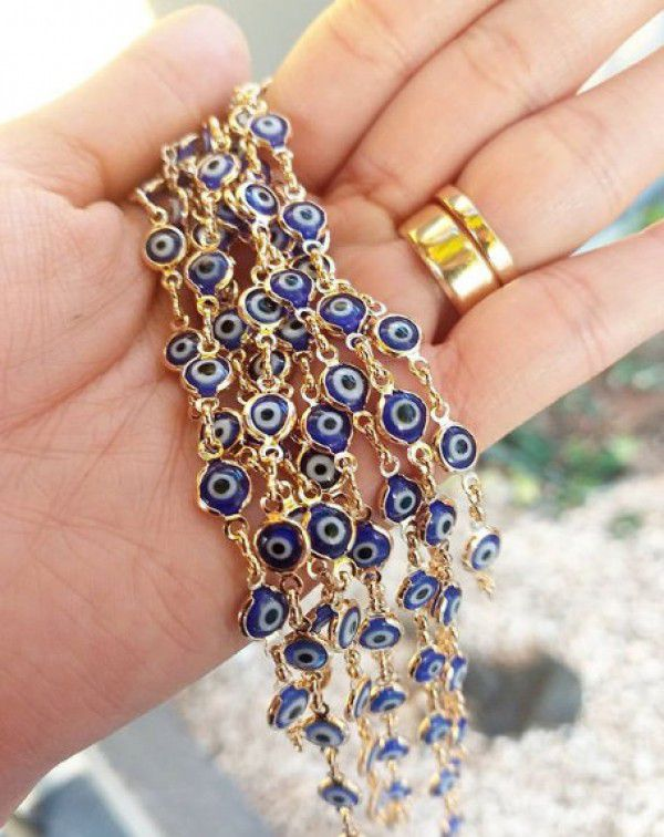 Pulseira Olho Grego Banho de Ouro Proteção Amuleto