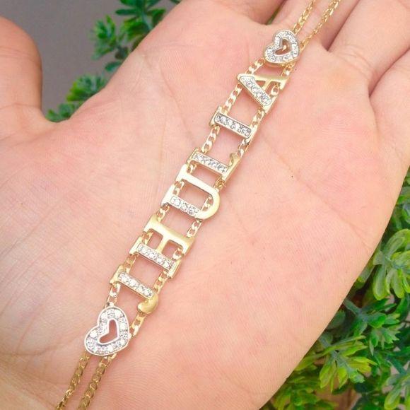 Pulseira Personalizada com Pedras Cravejadas Banhada a Ouro