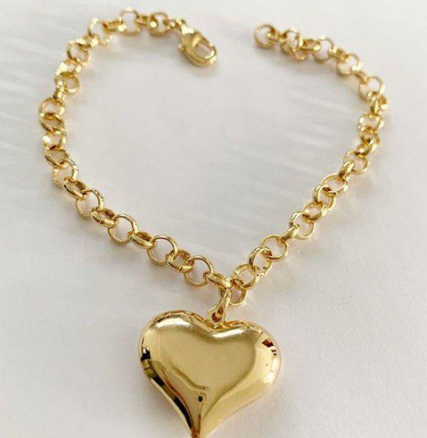 Pulseira Portuguesa Pingente Coração Banho de Ouro
