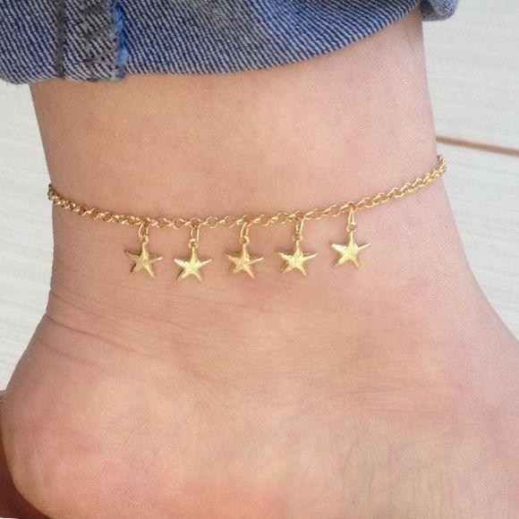 Tornozeleira elo português estrela  banhada a ouro