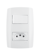 1 Interruptor Simples 10A 250V + 1 Tomada 10A - 80200