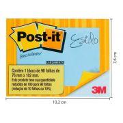 Bloco Post-it 657 76x102 Azul Reciclado 90 Folhas 3m